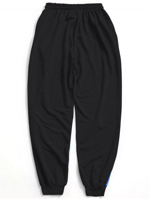 Pantalones de chándal con cordón del bloque del color - Negro L Mobile