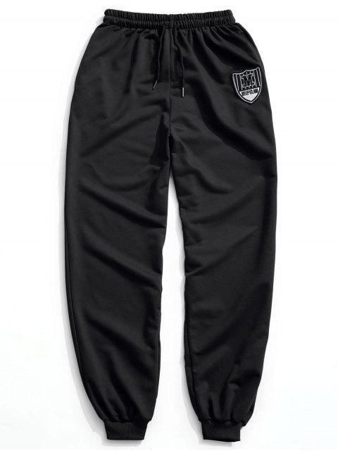 Patch Drawstring Jogger Pants - Negro 2XL Mobile