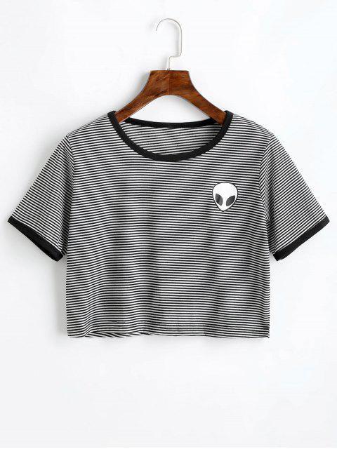 women Extraterrestrial Print Striped Crop Tee - BLACK WHITE XL Mobile