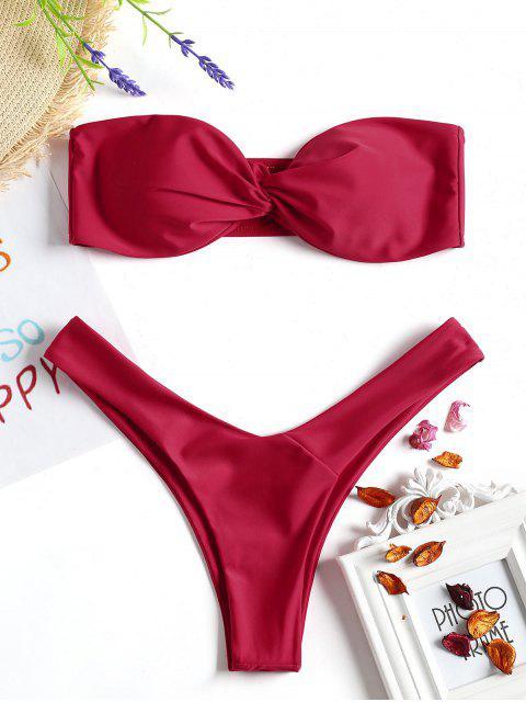 Twist Front Bandeau Thong Bikini - Rojo L Mobile