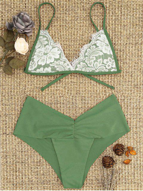 outfit Lace Overlay Scrunch Butt Bikini Set - PEA GREEN L Mobile