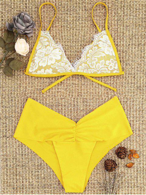 new Lace Overlay Scrunch Butt Bikini Set - YELLOW M Mobile