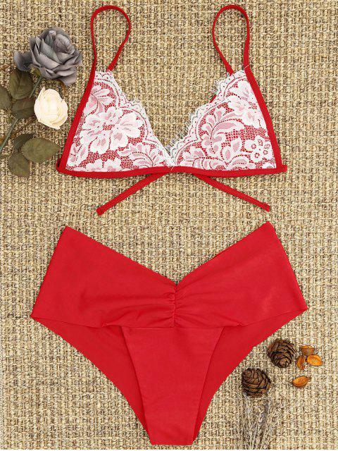 ladies Lace Overlay Scrunch Butt Bikini Set - BRIGHT RED L Mobile
