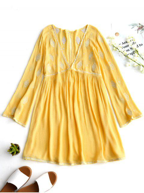 outfits Low Cut Crinkly Embroidered Tunic Dress - YELLOW M Mobile