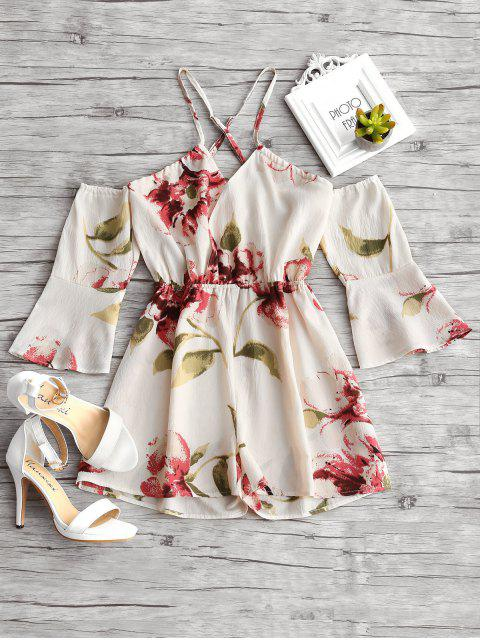 outfits Floral Print Flare Sleeve Cami Romper - FLORAL L Mobile