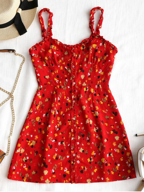 shops Floral Frilled Button Up Mini Dress - RED M Mobile