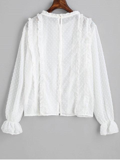 Blusa con volados con aplicación de botones en la parte posterior - Blanco M Mobile