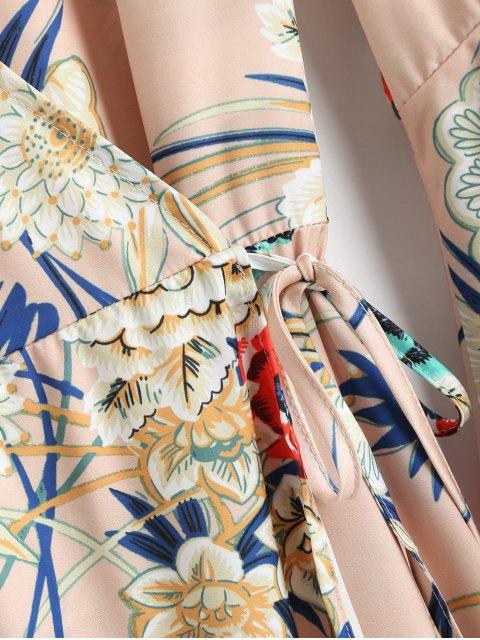 Vestido maxi abrigo asimétrico de la flor - Albaricoque L Mobile