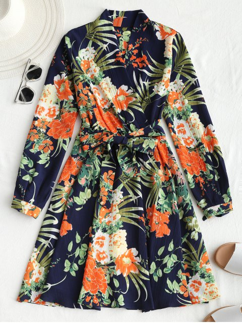 Mini vestido floral de manga larga con cinturón - Azul Purpúreo L Mobile