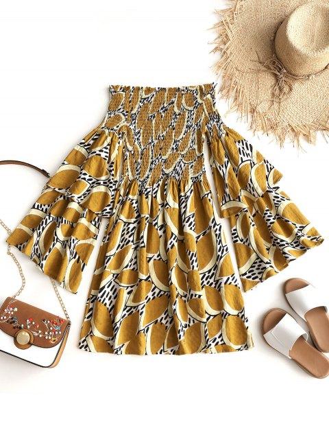 Vestido mini Shirred con hombros caídos - Mostaza L Mobile