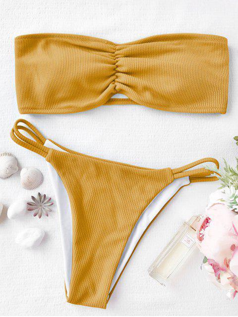 Conjunto de bikini palabra de honor acanalado - Amarillo S Mobile