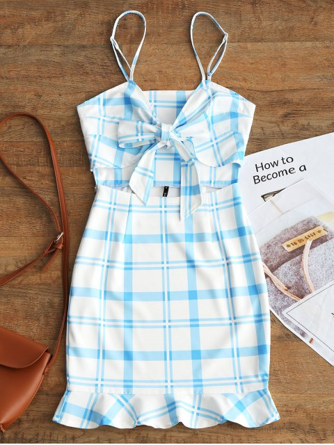 hot Cut Out Bowknot Plaid Mini Dress - LIGHT BLUE M Mobile