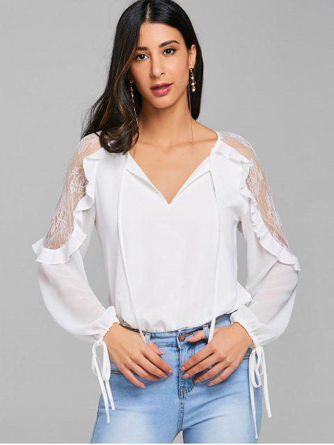 lady Lace Trim Ruffle Tie Keyhole Blouse - WHITE XL Mobile