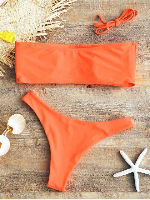 new Padded Bandeau Bikini Set - FLUORESCENT ORANGE S Mobile