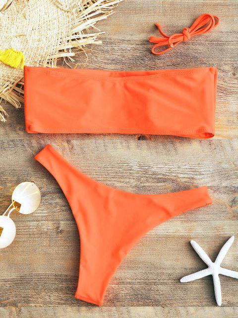 online Padded Bandeau Bikini Set - FLUORESCENT ORANGE M Mobile