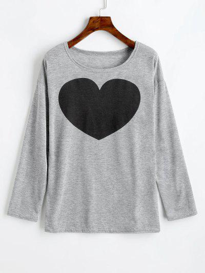 Zaful Heart Print Long Sleeve Tee