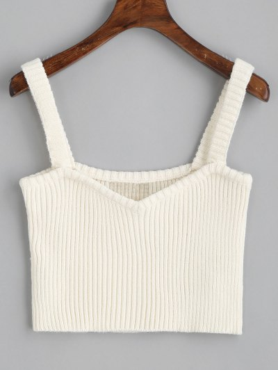 Knitted Cropped Ribbed Tank Top - White M