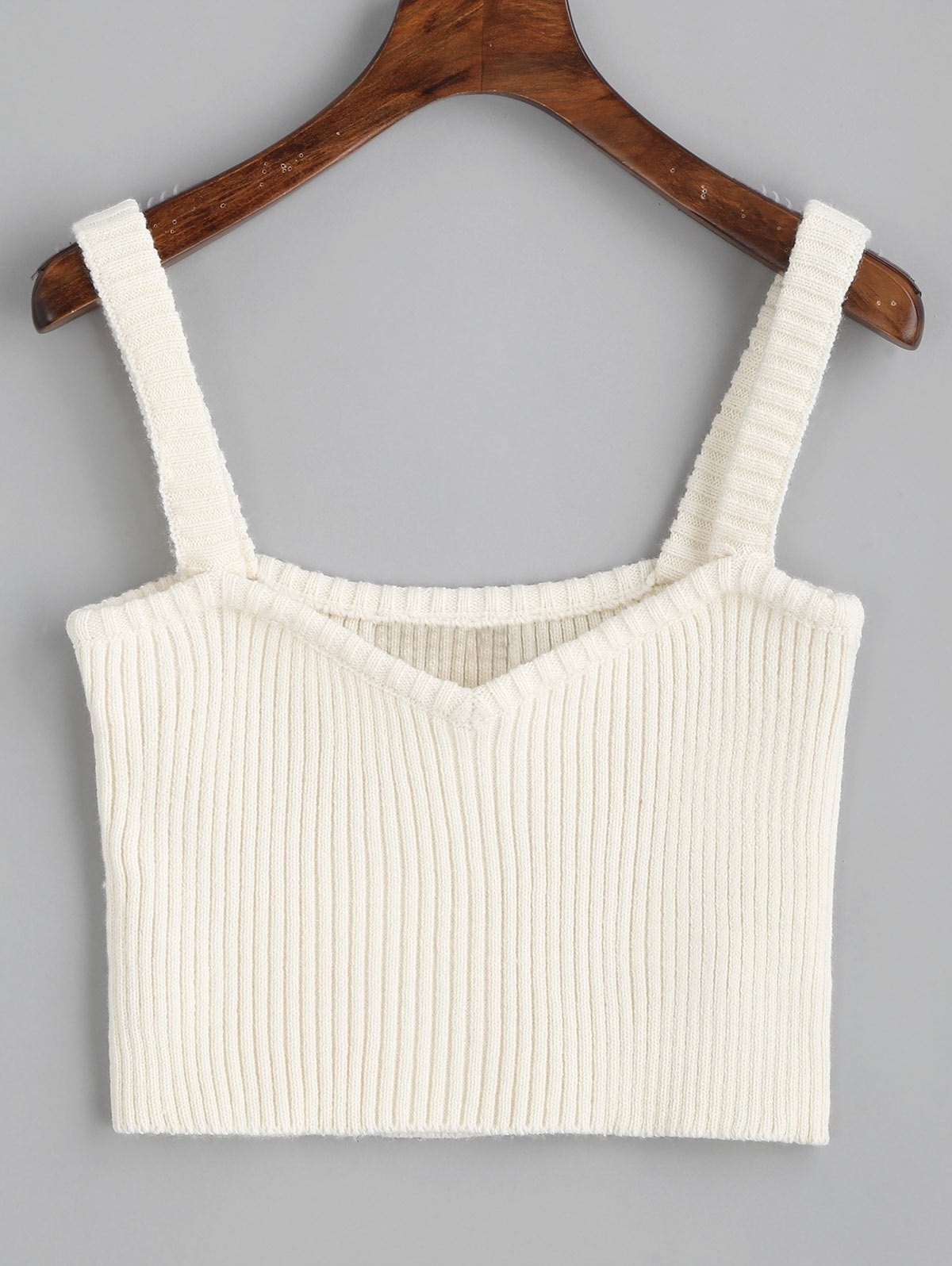 Knitted Cropped Ribbed Tank Top 254589503