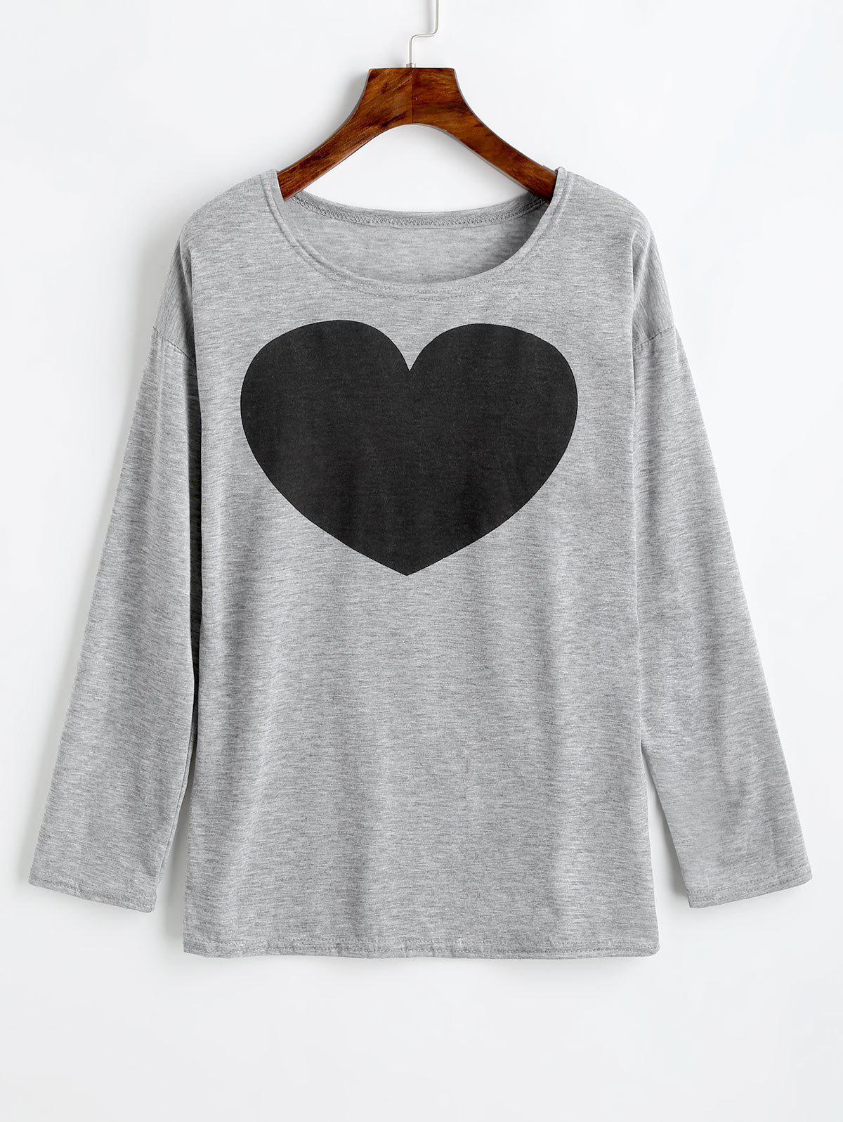 Heart Print Long Sleeve Tee фото
