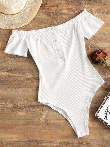 زر المفاجئة قبالة الكتف ارتداءها - أبيض S