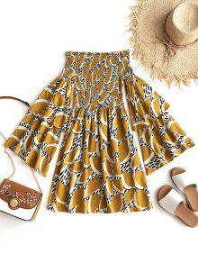 أوراق قبالة الكتف فستان قصير شيرد - خردل Xl