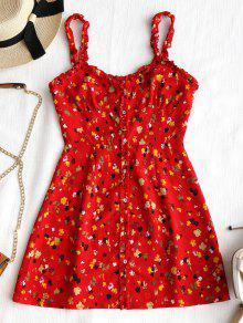 فستان مصغر زر طباعة الأزهار - أحمر M