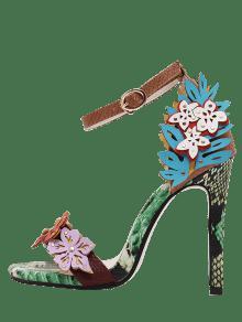 d8c10c182ed 40% OFF  2019 High Heel Flower Snake Print Sandals In FLORAL