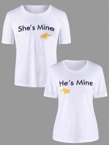 Blanco A 225;fico De Pares Con Juego Estampado Mujer Camiseta L Gr xqw81Cf
