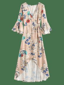 S Flor Abrigo De Maxi La Asim Albaricoque 233;trico Vestido vH7wqv8