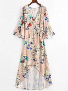 فستان ماكسي لف غير متماثل طباعة الأزهار - مشمش L
