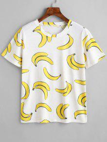 Redondo Y Con Banana Blanco De Estampado Camiseta Cuello aw7aP