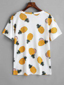 Redondo Con Cuello Pi a Camiseta De De Estampado Blanco 6vwqpnxT0