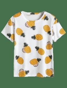 Estampado De Pi Blanco a Redondo Cuello Con De Camiseta XqFz5wt