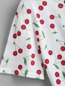 Camiseta Cuello Con Redondo Cerezas Blanco De Con Estampado wBw6qv8