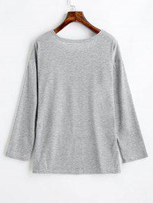 Larga Xl Manga Con De Estampado Corazones Camiseta Gris De pf1EnCx