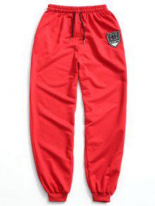 سروال للركض بأربطة مزين برقعة - أحمر 2xl