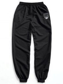 سروال للركض بأربطة مزين برقعة - أسود Xl