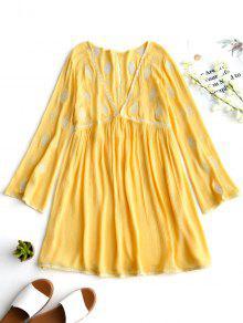 فستان تونيك مطرز انخفاض القطع - الأصفر M