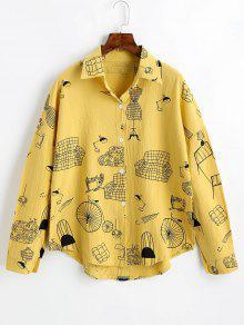 بوتون أوب قميص طويل الأكمام مطبوع - ترابي