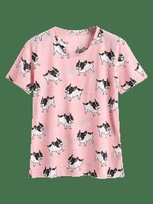 Estampado Cuello Con De Perro De Redondo Camiseta Rosado vqIwn