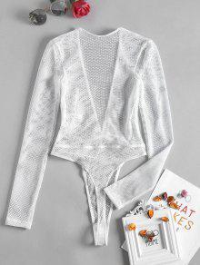 f3a27cfbb9de 22% OFF] 2019 Plunge Fishnet Long Sleeve Bodysuit In WHITE | ZAFUL