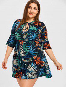 فستان مصغر الحجم الكبير طباعة الورقة الاستوائية  - الأزهار 2xl