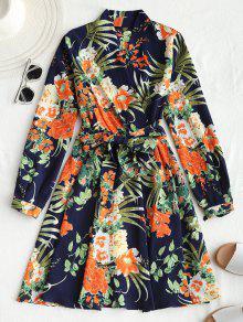 فستان مصغر طباعة الأزهار طويلة الأكمام مربوط - الأرجواني الأزرق Xl