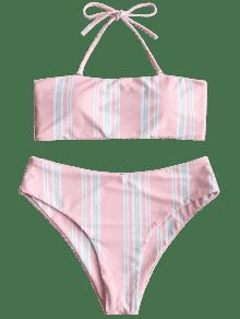8bd66a2bb5608 55% OFF  2019 Striped Halter Swim Top And High Cut Bottoms In ...