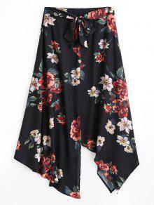 تنورة ماكسية طباعة الأزهار غير متماثلة - أسود S