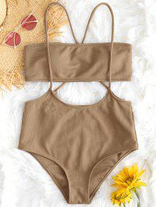c78d7d82f3 77% OFF] 2019 Bandeau Top And High Waisted Slip Bikini Bottoms In ...