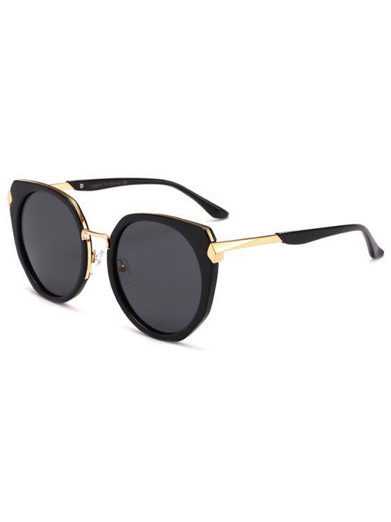 نظارة شمسية بإطار معدني - أسود مزدوج