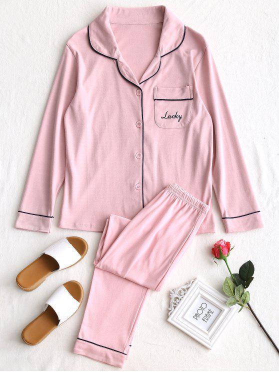 Baumwolle Lucky Grafik Pyjama Set - Pink XL