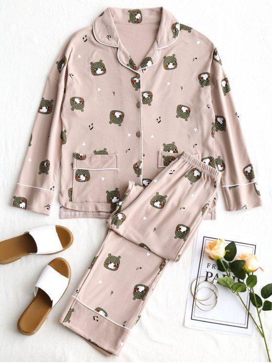 Baumwolle Bär Grafik Pyjama Set - Rötlich Getönt Grau 2XL