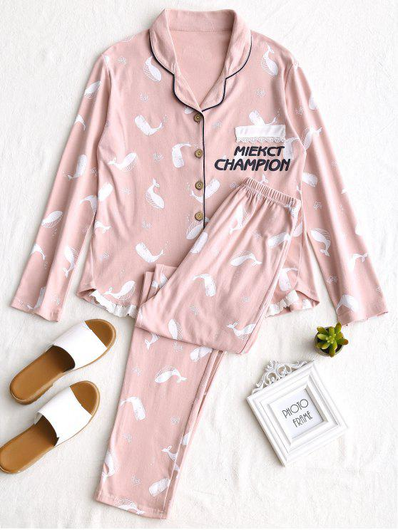 womens Laced Whale Graphic Pajamas Set - PINK L